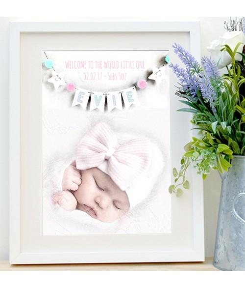 New Baby Portrait - Name Bunting Illustration