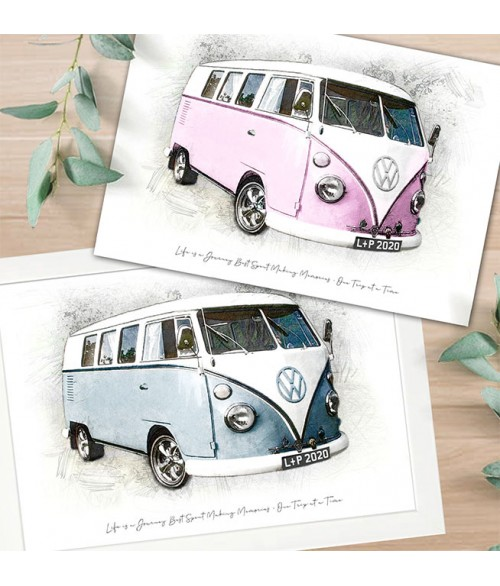 Life is a Journey Campervan Hand Finished Print