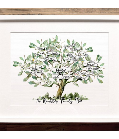 The Family Name Tree Print - Made to Order Personalised Print