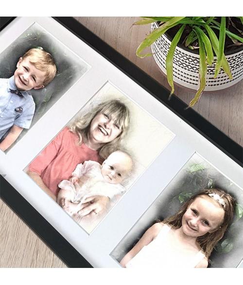 Family Portrait Triple Framed Illustration
