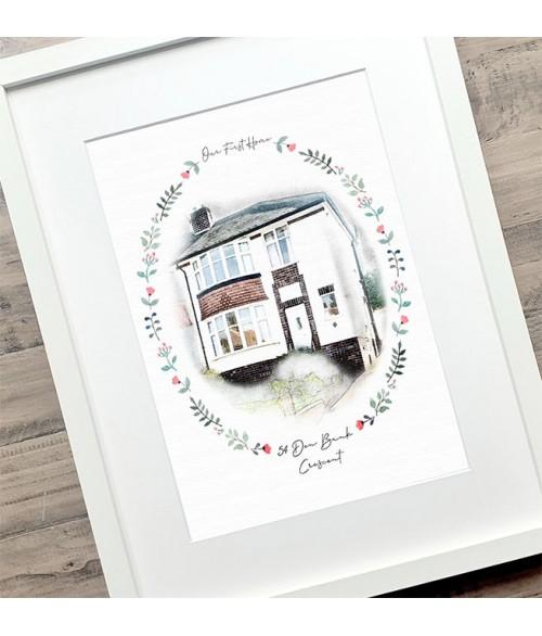 New Home Illustration - Floral Frame Series