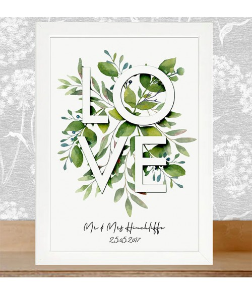 Love Botanical Wall Art - Hand finished personalised Print