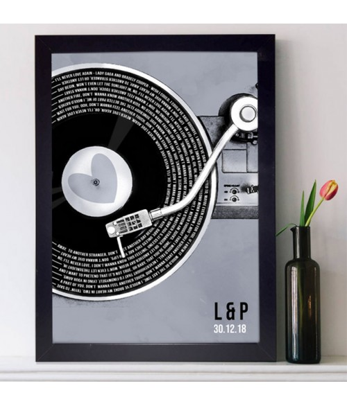 Record Song Lyrics Print - Vintage Blue **Any Song **Any Artist