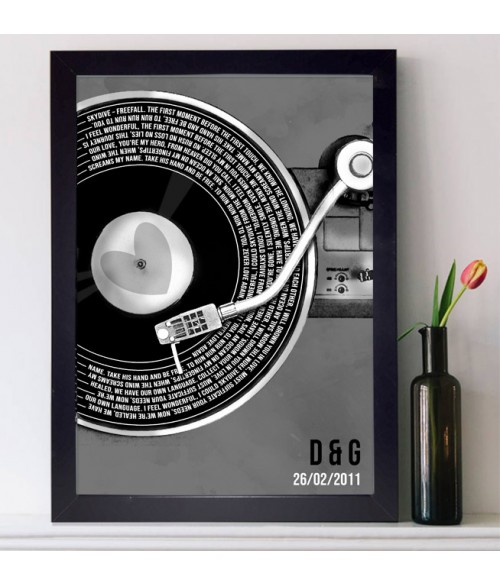 Record Song Lyrics Print - Vintage Grey **Any Song **Any Artist