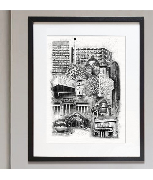 Sheffield City Landmarks Hand Finished Print