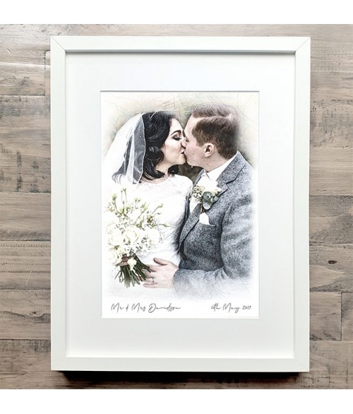 Wedding Portrait Illustration - Mitre Frame