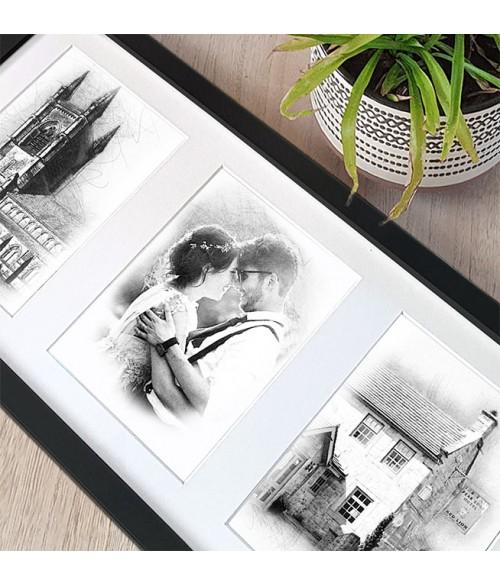 Wedding Portrait / Venue Triple Framed Illustration
