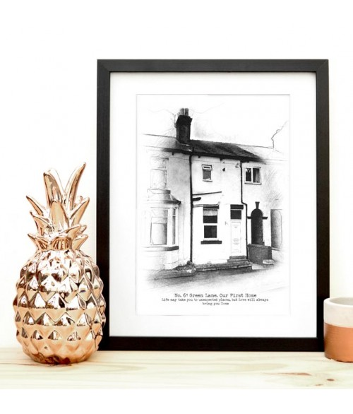 Home Sweet Home Illustration - Black and White Sketch