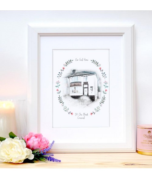 Home Sweet Home Illustration - Floral Frame