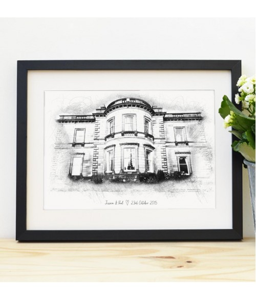 Wedding Venue Illustration - Black and White Sketch